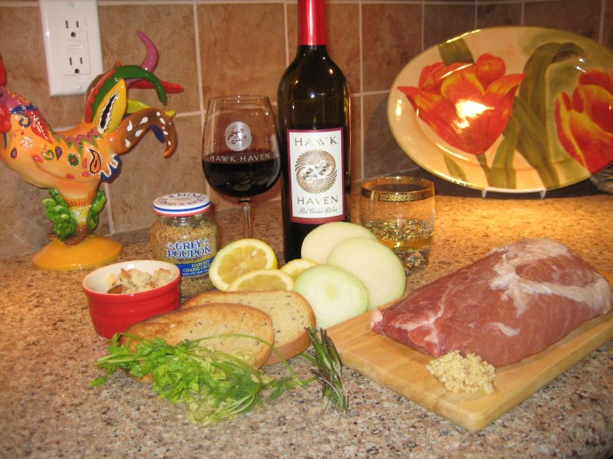 Ingredients for Rye Breaded Pork with Hawk Haven Red Table Wine Marinade