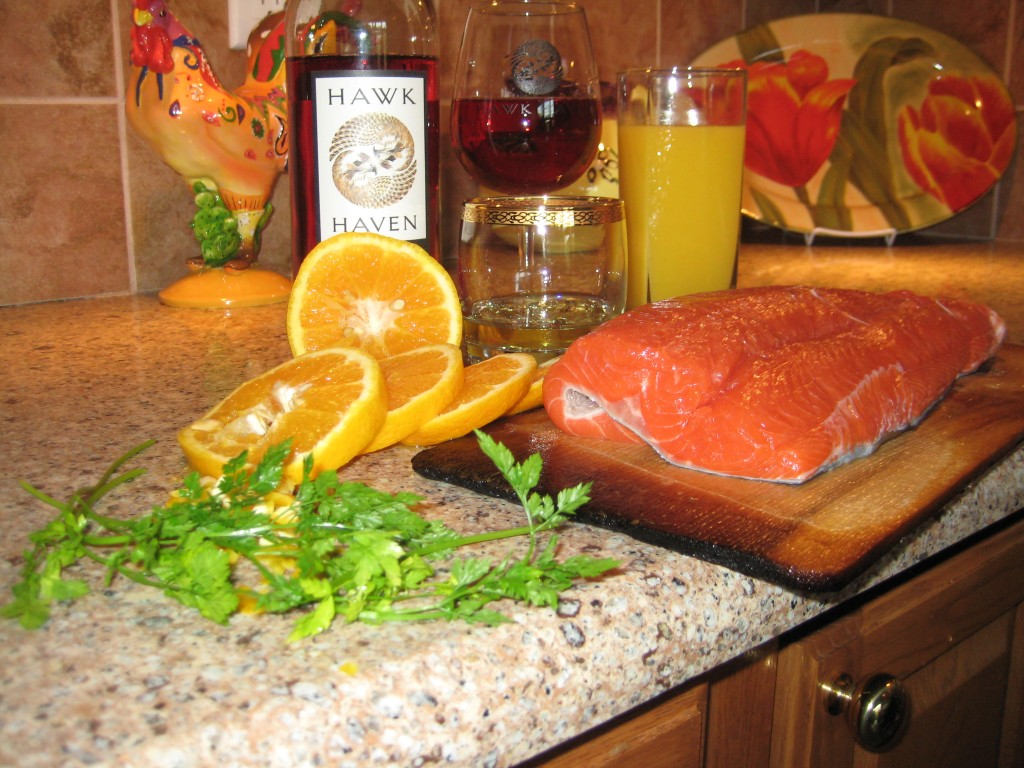 Ingredients of Cedar Plank Salmon with Red-Tailed Rose and Orange Glaze