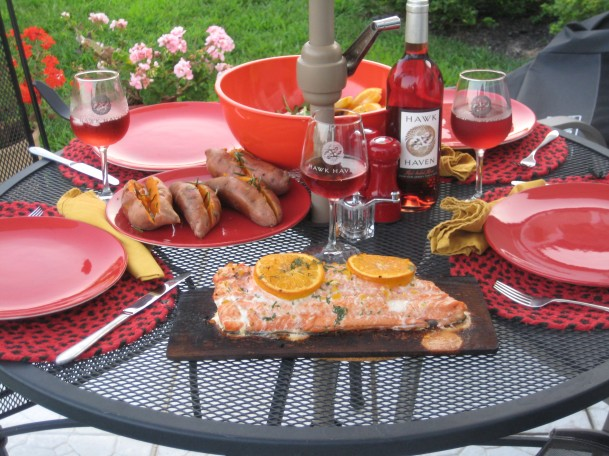 Cedar Plank Salmon and Hawk Haven Wine