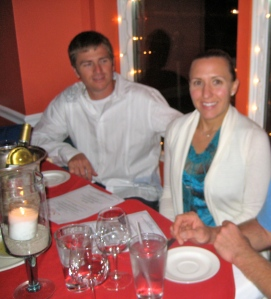 Kenna and Todd at the Eat Local; Drink Local test dinner at Sean's Restaurant