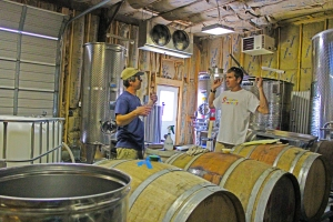 Lou and Todd discussing the filtration process.