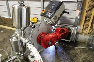 The wine pump moves the wine from the tank, through the filter, and into a new tank.